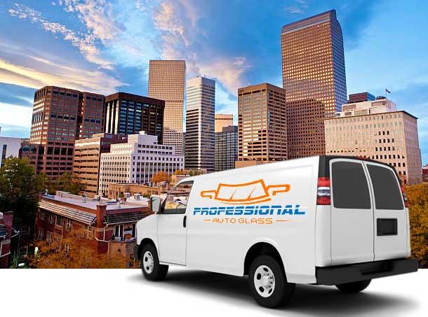 Professional Auto Glass Van - Denver Skyline
